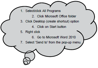 palia wants to create a shortcut for ms word 2010 so that